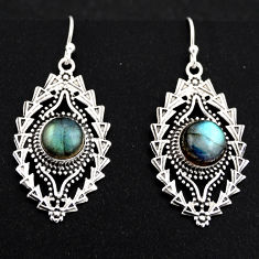 6.75cts natural blue labradorite 925 sterling silver dangle earrings r1897