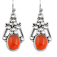 8.03cts natural orange cornelian (carnelian) 925 silver dangle earrings r4605