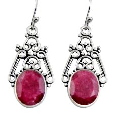 7.82cts natural red ruby 925 sterling silver dangle earrings jewelry r4609