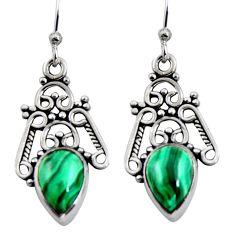 925 silver 5.52cts natural green malachite (pilot's stone) dangle earrings r4613