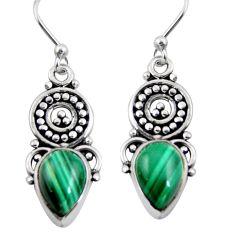 5.14cts natural green malachite (pilot's stone) 925 silver dangle earrings r4614