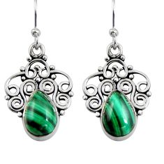 5.57cts natural green malachite (pilot's stone) 925 silver dangle earrings r4615