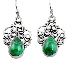 5.38cts natural green malachite (pilot's stone) 925 silver dangle earrings r4616