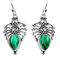 5.55cts natural green malachite (pilot's stone) 925 silver dangle earrings r4618