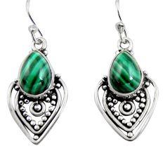 925 silver 5.52cts natural green malachite (pilot's stone) dangle earrings r4620