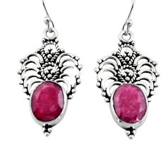 925 sterling silver 8.44cts natural red ruby dangle earrings jewelry r4630
