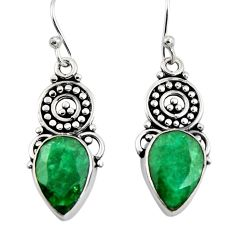 7.82cts natural green emerald 925 sterling silver dangle earrings jewelry r4638