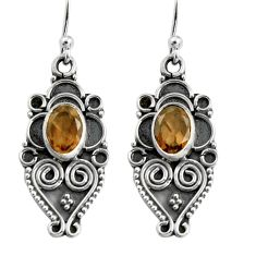 925 sterling silver 3.13cts brown smoky topaz dangle earrings jewelry r5024