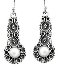 2.09cts natural white pearl 925 sterling silver dangle earrings jewelry r5025