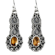 3.50cts brown smoky topaz 925 sterling silver dangle earrings jewelry r5026