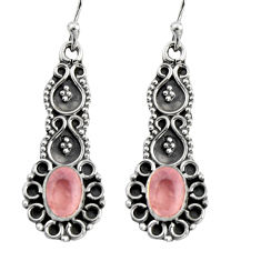 925 sterling silver 3.29cts natural pink rose quartz dangle earrings r5028