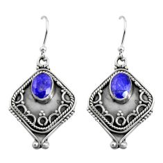 925 sterling silver 3.13cts natural blue sapphire dangle earrings jewelry r5032