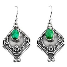 3.14cts natural green emerald 925 sterling silver dangle earrings jewelry r5033
