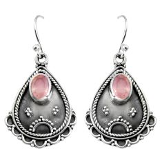 3.19cts natural pink rose quartz 925 sterling silver dangle earrings r5037