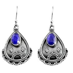 3.19cts natural blue sapphire 925 sterling silver dangle earrings jewelry r5038