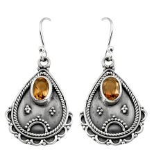 3.19cts brown smoky topaz 925 sterling silver dangle earrings jewelry r5039