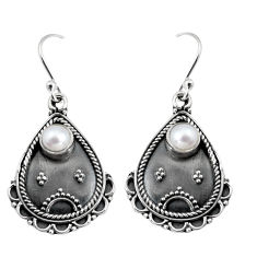 925 sterling silver 1.61cts natural white pearl dangle earrings jewelry r5040