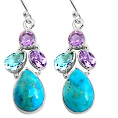 925 silver 14.40cts blue arizona mohave turquoise amethyst dangle earrings r5044