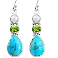 13.70cts blue arizona mohave turquoise peridot pearl 925 silver earrings r5046