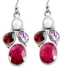 13.55cts natural red ruby amethyst pearl garnet 925 silver dangle earrings r5050
