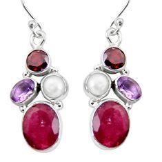 925 silver 13.55cts natural red ruby amethyst pearl garnet dangle earrings r5051