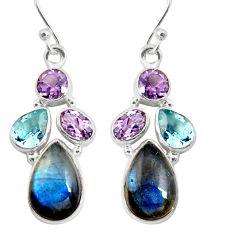 14.26cts natural blue labradorite amethyst 925 silver dangle earrings r5055
