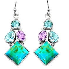 15.16cts blue arizona mohave turquoise amethyst 925 silver dangle earrings r5060