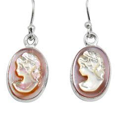 10.69cts lady face natural pink cameo on shell 925 silver dangle earrings r5066