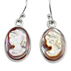 10.32cts lady face natural pink cameo on shell 925 silver dangle earrings r5070