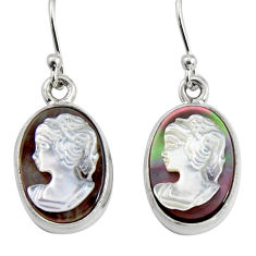 10.32cts lady face natural pink cameo on shell 925 silver dangle earrings r5073