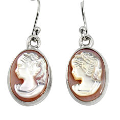 11.07cts lady face natural pink cameo on shell 925 silver dangle earrings r5076