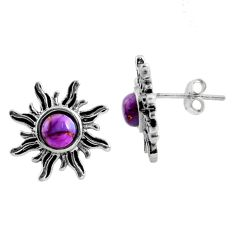 1.96cts purple copper turquoise 925 sterling silver stud earrings jewelry r5418
