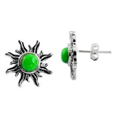 1.96cts green copper turquoise 925 sterling silver stud earrings jewelry r5420