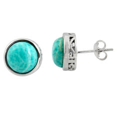 6.61cts natural green amazonite (hope stone) 925 silver stud earrings r5421