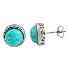 6.03cts natural green amazonite (hope stone) 925 silver stud earrings r5431
