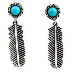 1.14cts blue arizona mohave turquoise 925 silver feather earrings jewelry r5482