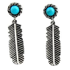 1.10cts blue arizona mohave turquoise 925 silver feather earrings jewelry r5484