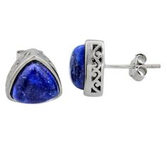 6.83cts natural blue lapis lazuli 925 sterling silver stud earrings r5491