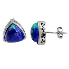 6.83cts natural green azurite malachite 925 sterling silver stud earrings r5493