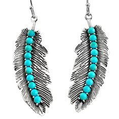 5.52cts natural blue kingman turquoise 925 sterling silver dangle earrings r5547