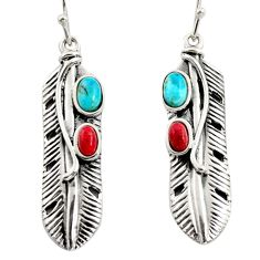 925 silver 4.51cts blue arizona mohave turquoise sponge coral earrings r5584