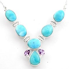 38.99cts natural blue larimar amethyst 925 sterling silver necklace r1798