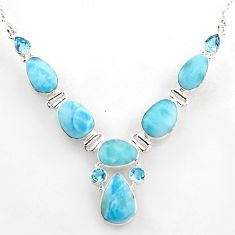 45.96cts natural blue larimar topaz 925 sterling silver necklace jewelry r1800