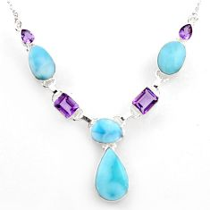 39.48cts natural blue larimar amethyst 925 sterling silver necklace r1805