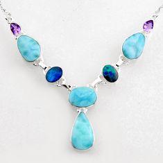 925 silver 36.96cts natural blue larimar doublet opal australian necklace r1811