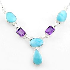 31.71cts natural blue larimar amethyst 925 sterling silver necklace r1815