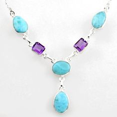 34.21cts natural blue larimar amethyst 925 sterling silver necklace r1816