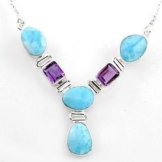 925 sterling silver 33.21cts natural blue larimar amethyst necklace r1818