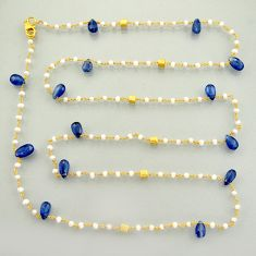 925 silver 40.79cts natural blue kyanite 14k gold 35inch chain necklace r3784