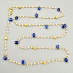 41.68cts natural blue kyanite 925 silver 14k gold 35inch chain necklace r3788
